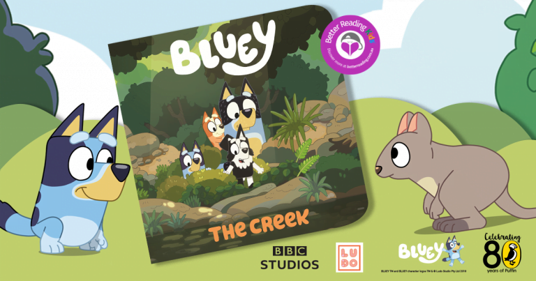 Bluey colouring activity:  Bluey and her friends venture beyond the playground in Bluey: The Creek